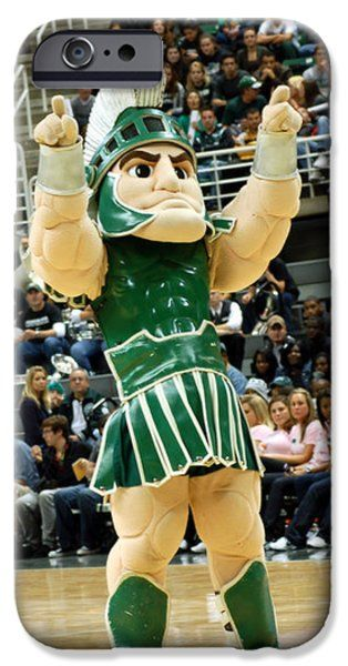 Michigan State iPhone 6 Cases - Sparty at Basketball Game  iPhone 6 Case by John McGraw