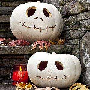 Jack Skellington Jack-O-Lanterns!Halloween Decor, Halloween Crafts, Halloween Pumpkin, Pumpkin Carvings, Jack O' Lanterns, White Pumpkin, Pumpkin Design, Nightmare Before Christmas, Jack Skellington