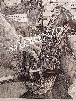 Duo de Saxos  Dibujo a plumilla
