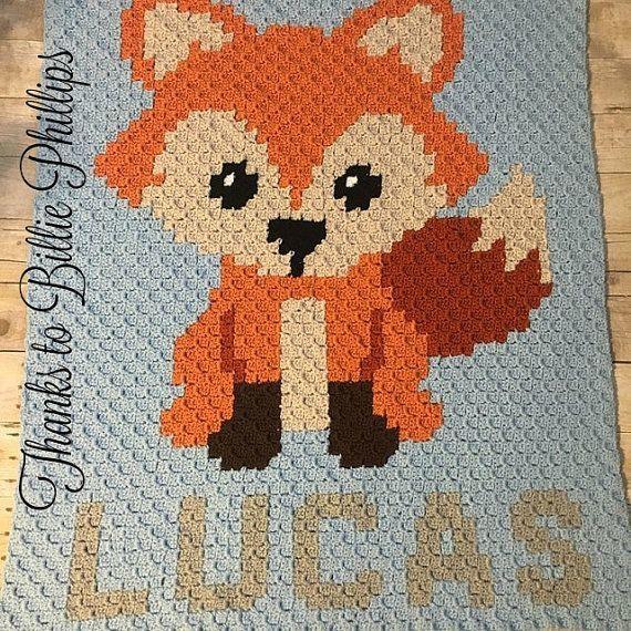 INSTANT DOWNLOAD - Fox - Crochet Graph - Crochet Pattern - Woodland - Baby Blanket - Corner to Corner - C2C - C2C Written