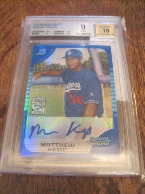 2005 BOWMAN CHROME BLUE REFRACTOR AUTO RC #349 MATT KEMP #107/150 BGS  MINT 9 10 #LosAngelesDodgers