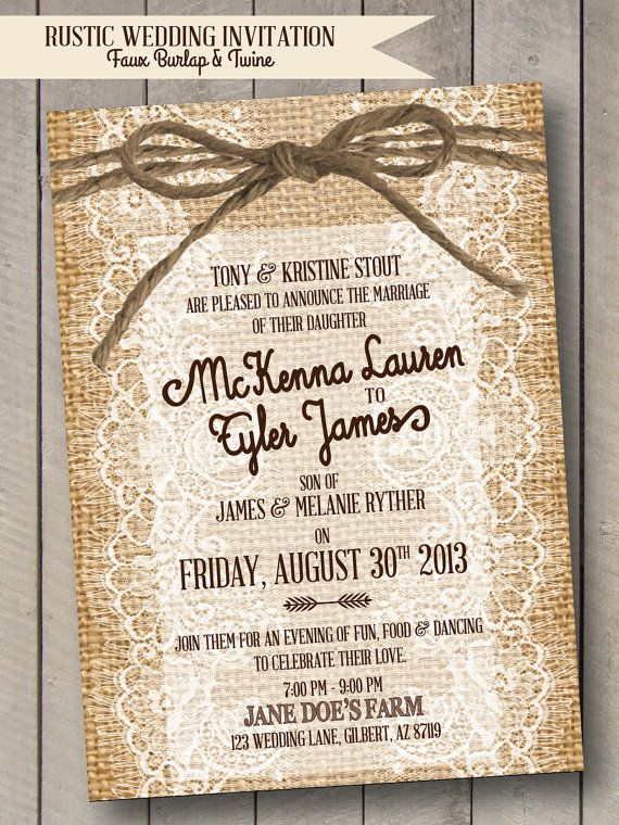 Rustic Wedding Invitation  Burlap Lace & Twine  by SeeNikkiCreate, $20.00