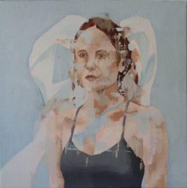 Portrait with plastic bag.