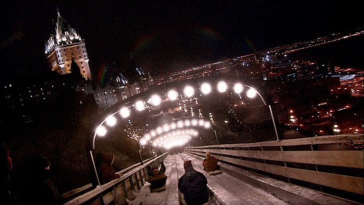 A thrilling bobsled ride at night gives a spectacular and adrenaline charged view of beloved Québec!