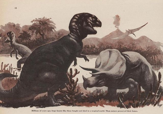 This illustration appeared in Boys' Life magazine.  A depiction of a Mesozoic environment, it appeared with an article penned by Roy Chapman Andrews in the November 1954 issue.