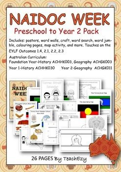A resource pack to help commemorate NAIDOC Week.Includes: posters, word walls, craft, word search, word jumble, colouring pages, map activity, and more. Touches on the EYLF Outcomes 1.4, 2.1, 2.2, 2.3 Australian Curriculum: Foundation Year-History ACHHK003, Geography ACHGK003 Year 1-History ACHHK030 Year 2-Geography ACHGK011Please note: If you downloaded our Sorry Day resources, there is a crossover so we have kept this product price low.