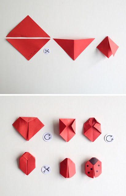 Marienkäfer, Kirigami, ladybird, Origami, DIY, tutorial von schaerestepapier-blog