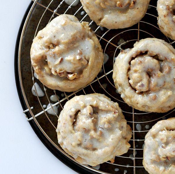 Hazelnut Brown Sugar Biscuits with Vanilla Glaze