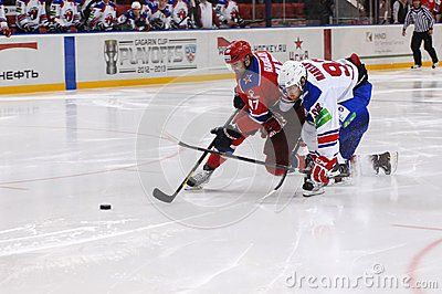 MOSCOW - FEBRUARY 20 : Unidentified players on hockey match Lion (white)-CSKA(red) in sports palace CSKA on January 20, 2013 in Moscow, Russia