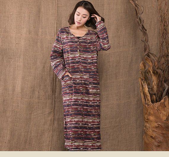 Woman cotton linen dress plus size dress loose dress long sleeve stripped dress woman maxi dress tunic dress autumn dress winter dress D90