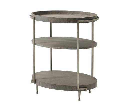 Tall Accent Table, Coastal Wave Finish Cerused Oak, Spazzolato Finish Steel Legs, Tray Top and Two Undertiers