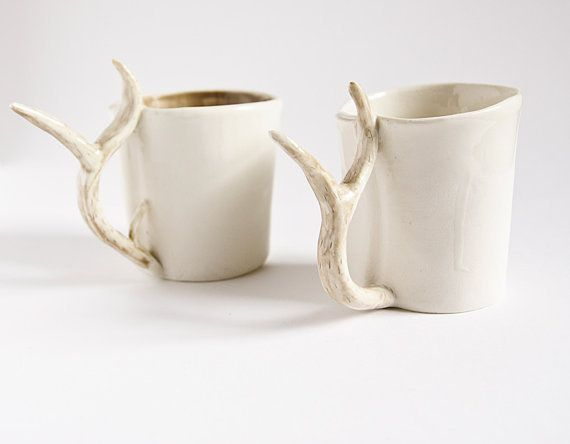 Aren't these adorable???? White Porcelain Drinking Mug with Whimsical Deer Antler Handle by karo Art