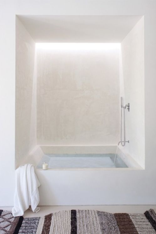 Bottom part of tub would be fab for the bath overlooking the courtyard. Also, for other parts of bathroom, consider the back-lighting its calming effect