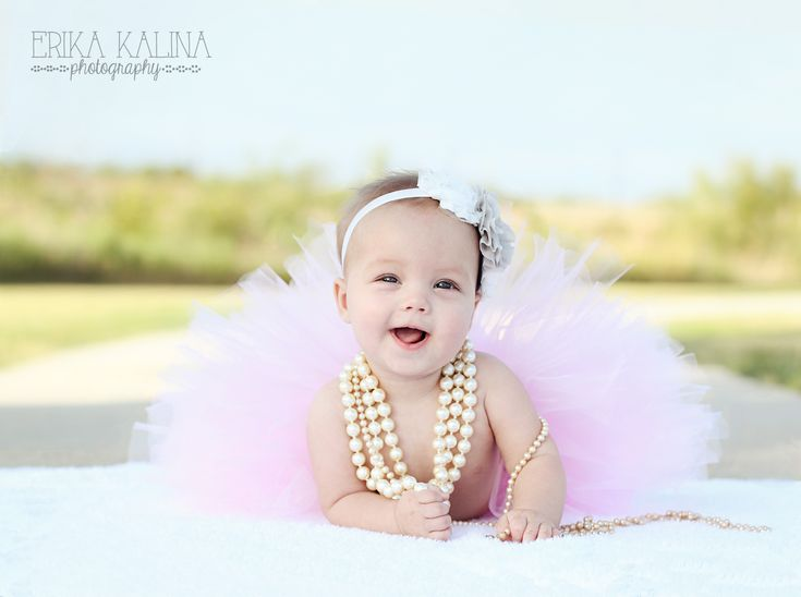 baby girl, six months, photo shoot, Fort Worth photographer, baby girl pose ideas, pearls, tutu, beautiful https://www.facebook.com/erikakalinaphotography