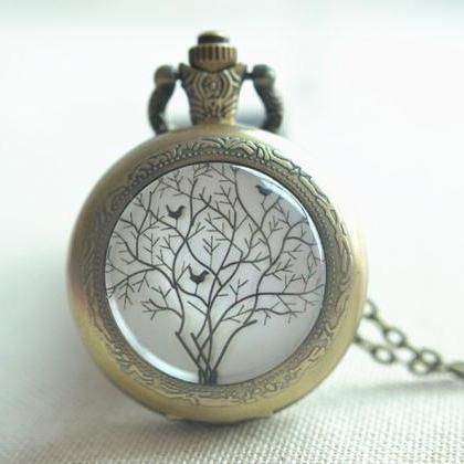 Tree Pocket Watch Necklace