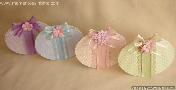 easter egg card with ribbon and flowers - bjl