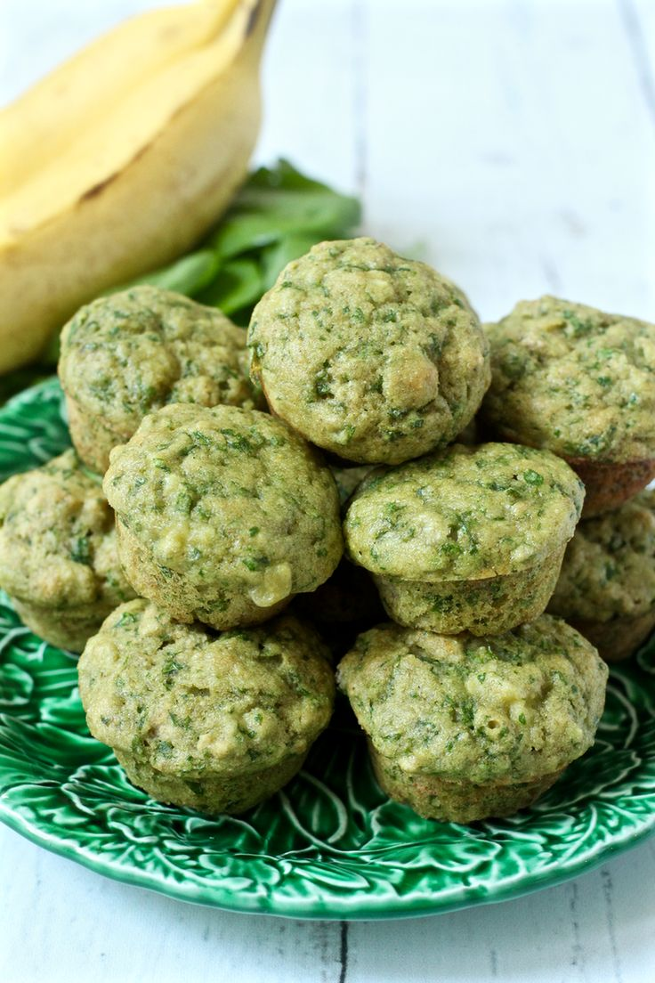 Mini banana spinach muffins are a wholesome, sweet snack or lunch - a kid favorite!