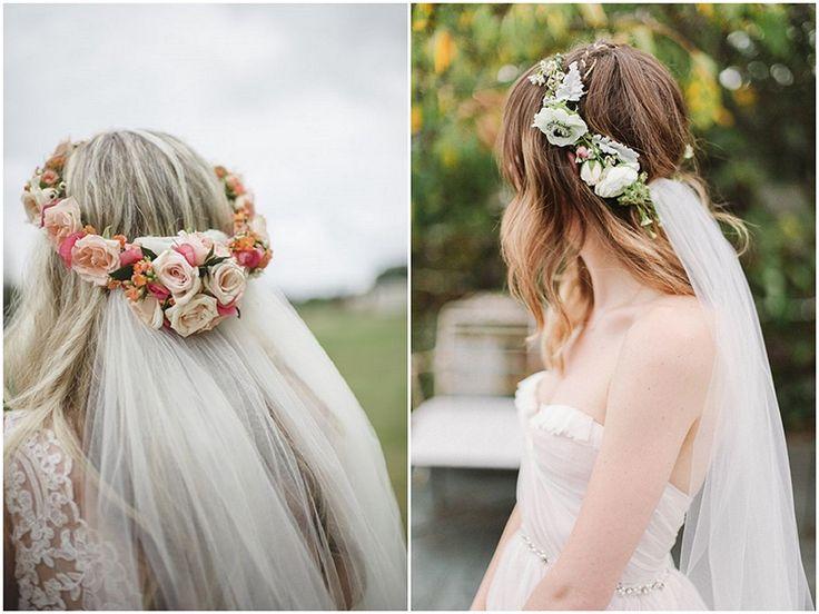 Coroncine di fiori da sposa con veli applicati.