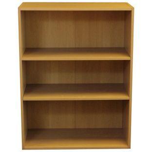 buy 3 shelf wide bookcase beech at argos co uk