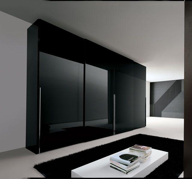 Modern Wardrobe With Sliding Doors 4 Drawers Dark Brown Black