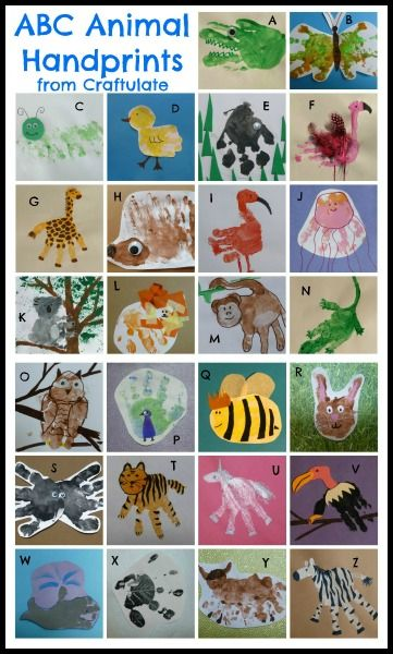 ABC Animal Handprints - have child make handprints over a period of time, hand along wall in bed/play room!