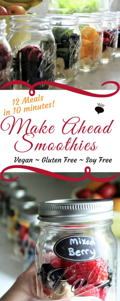 Mason jar smoothies can be made up in minutes for weeks' worth of healthy grab and go meals and snacks! Fill jars with fruit, freeze and blend any time you need a quick meal. thehiddenveggies.com