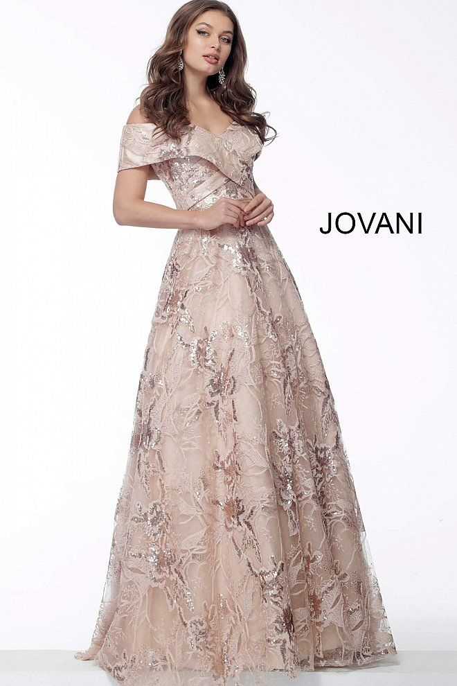3e22b7cfced6 Nude Fold Over Neckline A Line Evening Gown 67911 in 2019 | Dresses ...
