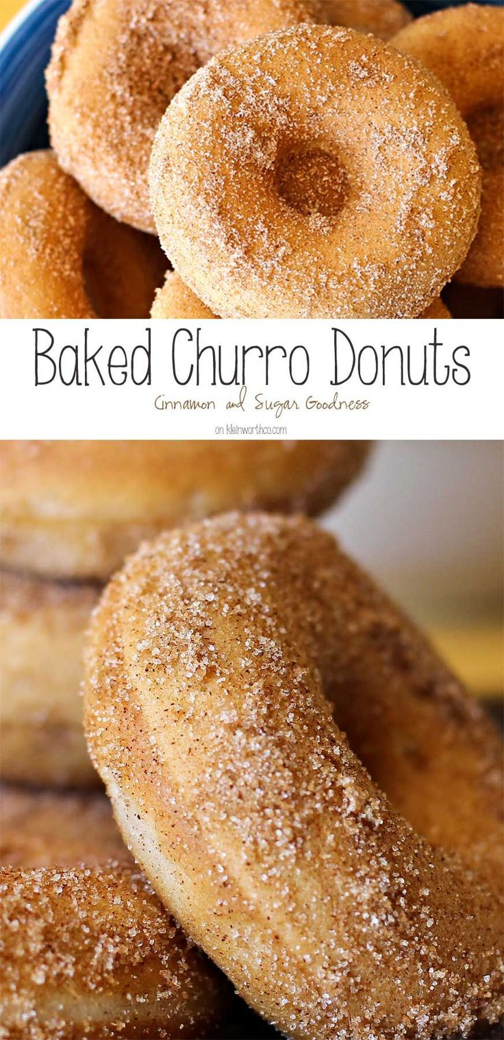 Baked Churro Donuts are an easy hoemade donut recipe. Coated in cinnamon & sugar they taste just like the churros you get at Disneyland. Delicious! on kleinworthco.com