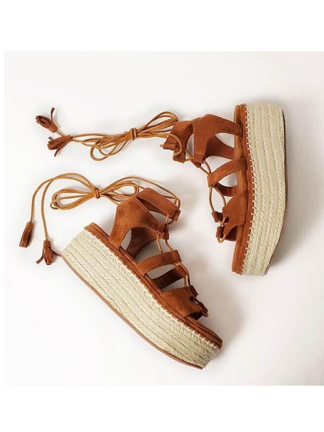 83d14b9e3527 Brown Summer Lace Up Espadrille Flatform Low Heel Sandals With Tassel
