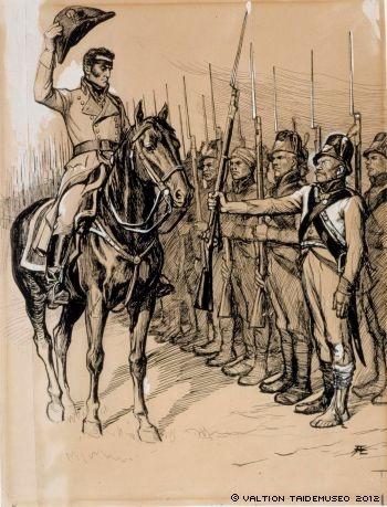Originaalipiirustus Vänrikki Stoolin tarinain kuvitukseen, 1897 - 1900