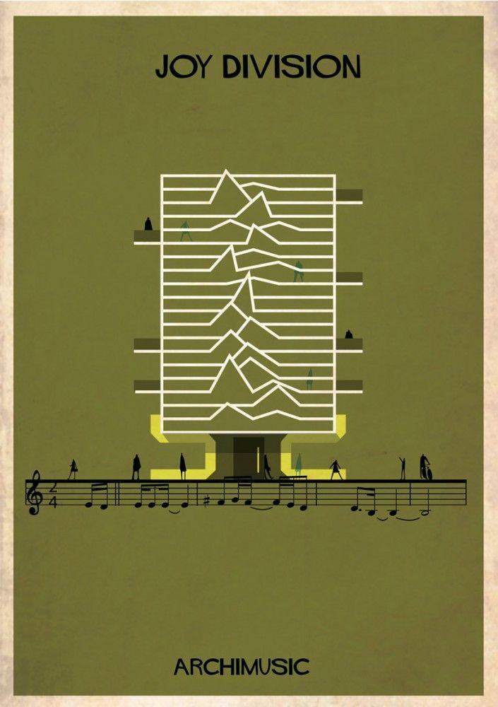 "ARCHIMUSIC: Illustrations Turn Music Into Architecture - Federico Babina / Joy Division, ""Love WIll Tear Us Apart"""