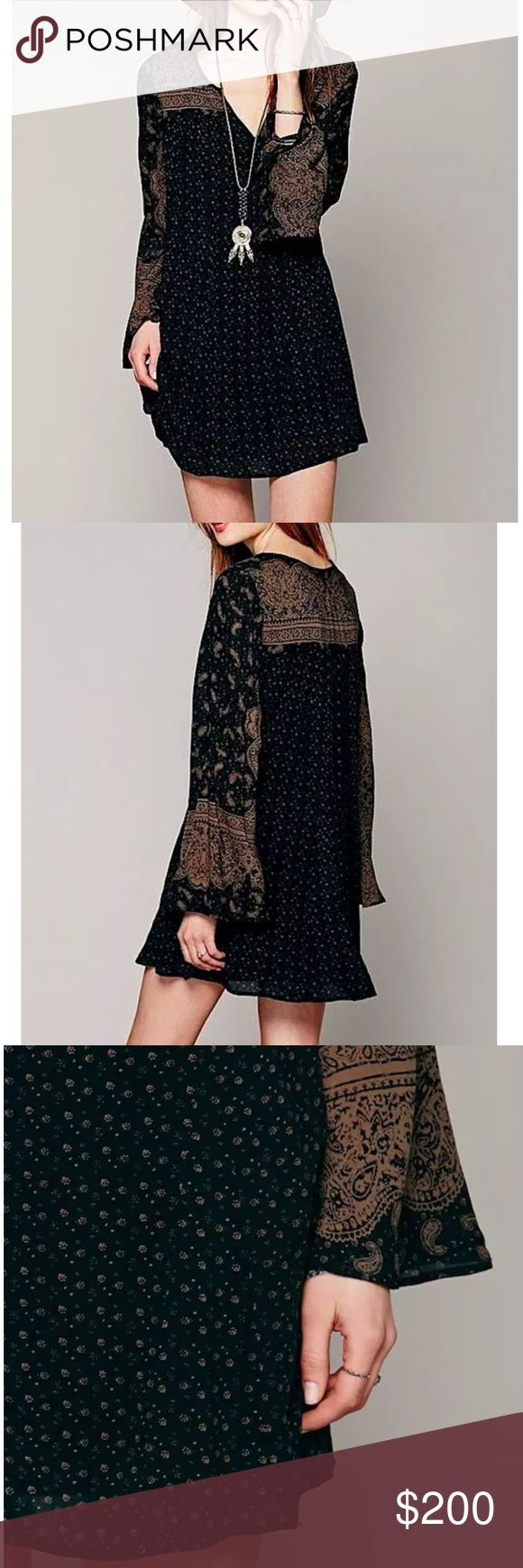 FREE PEOPLE Mini Dress Patterned Bohemian Classic Size Small. New Without Tags. $128 MSRP + Tax.  • Beautiful mini dress featuring an effortless silhouette & long flared bell sleeves. • Dark gray in color with muted tan (almost-brown) tones mixed throughout. • Printed geometric design & with split v-neckline. • Self-lined with a sleeveless mini dress. • Lightweight, swingy, soft. • Rayon. • Imported.   {Southern Girl Fashion - Closet Policy}  ✔️ Same-Business-Day Shipping (10am CT). ✔️ Price…