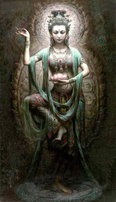 "'Green Tara' by Zeng Hao. (Dun Huang Art Studio). Not a ""Hindu"" Goddess but a Goddess of Tibetan Buddhism. She is a female Bodhisattva in Mahayana Buddhism and who also appears as a female Buddha in Vajrayana Buddhism. She is known as the ""Mother of Liberation"", and represents the virtues of success in work and achievements. In Japan she is known as 'Tara Bosatsu', and is little-known as 'Duōluó Púsà' in Chinese Buddhism."
