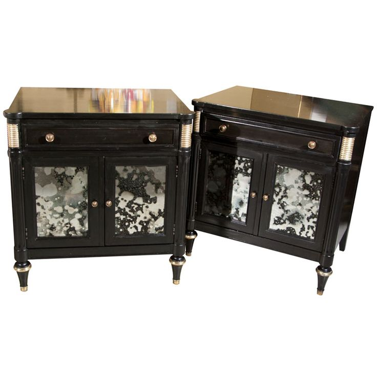 pair of ebonized and mirrored nightstands stamped jansen