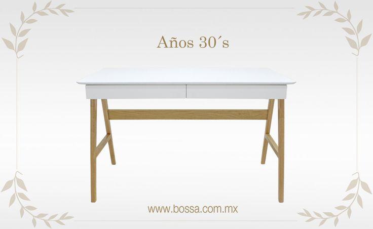 La elegancia de los años 30´s no sólo se presentaba en la vestimenta, también con los muebles en colores neutros y superficies lisas. Revive esta época con el Escritorio Akemi en: www.bossa.com.mx