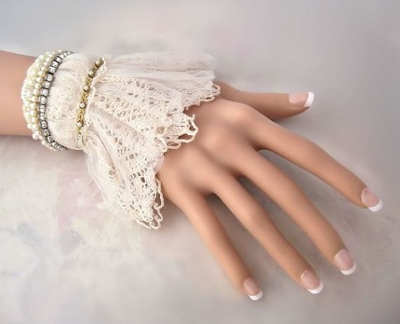 Wedding lace cuff Vintage style fabric bracelet lace by LaCamelot