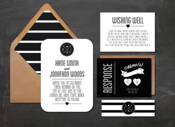 Modern Black And White Stripe Wedding Invitation By DAYDREAMPRINTS,