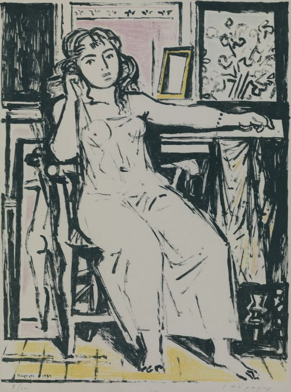 Yannis Moralis- Sitting Girl, 1955