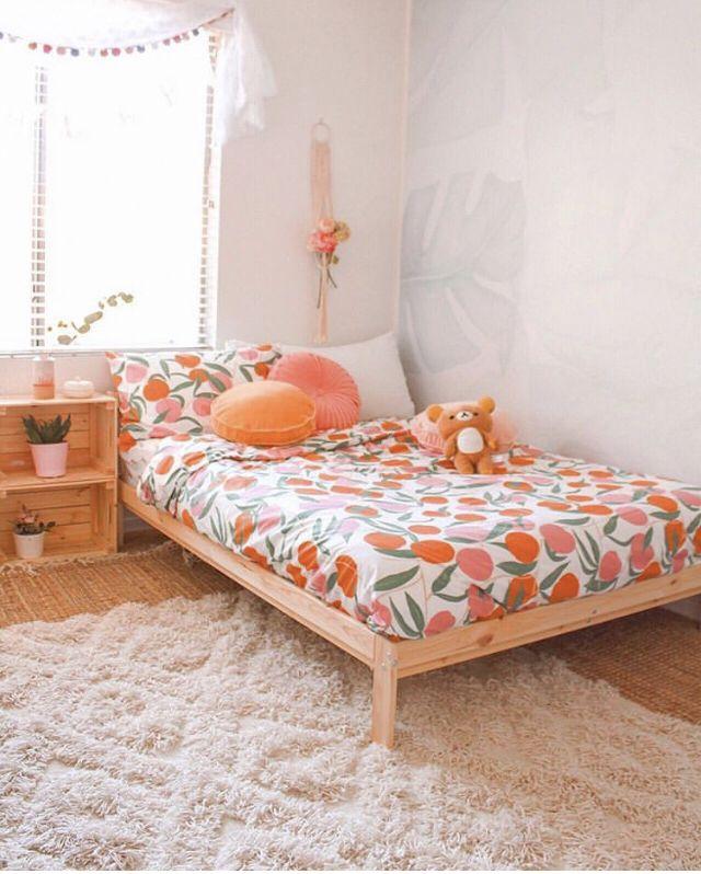 Orange And Pink Bedroom Peach Bedroom Bedroom Interior Bedroom Decor