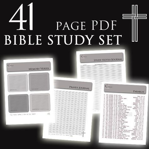 B&W Custom BIBLE Study Notes and Prayer Journal with References - 41 PDF Printables