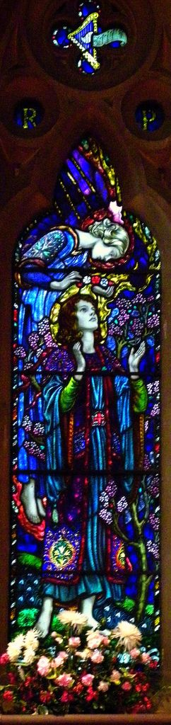 https://flic.kr/p/6yURYD | St Cecelia, Waterford | Pre-Raphaelite stained glass from the parish church of St Michael & All Angels, Waterford, Herts. This image of St Cecelia is the work of Karl Parsons and dates from 1929.