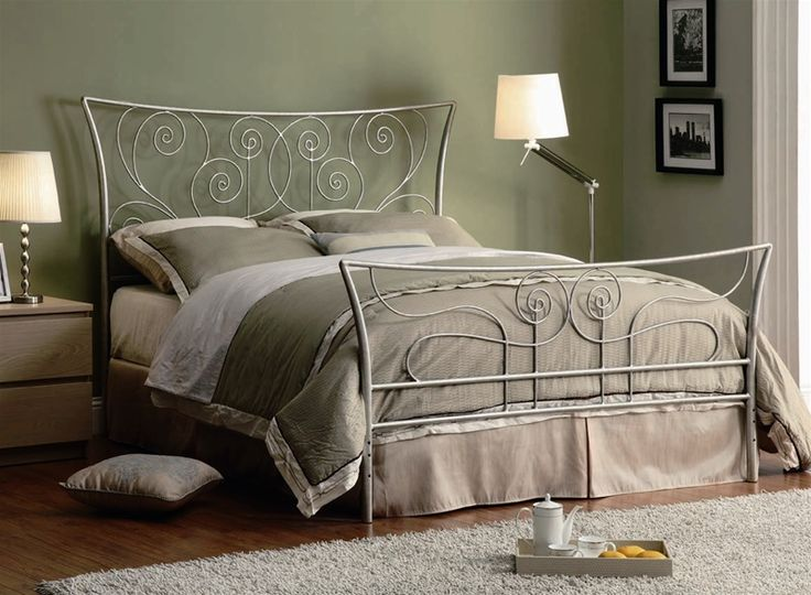 metal bed frame queen sc300252 tyrus silver iron sturdy metal frame queen size bed - Sturdy Bed Frame Queen