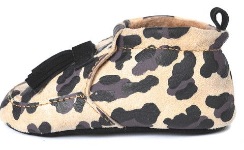 Lapito tasseled leather loafers. Ocelot Lapito is handmade leopard print baby shoes / pre walkers. Australian designed.