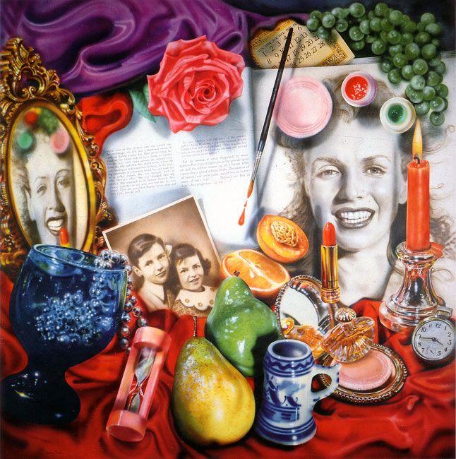 Photorealistic painting by Audrey Flack - Marilyn (Vanitas), 1977