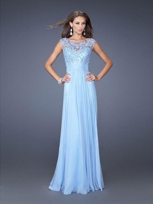 A-line High Neck Sleeveless Chiffon Prom Dresses/Evening Dresses With Lace #BK151