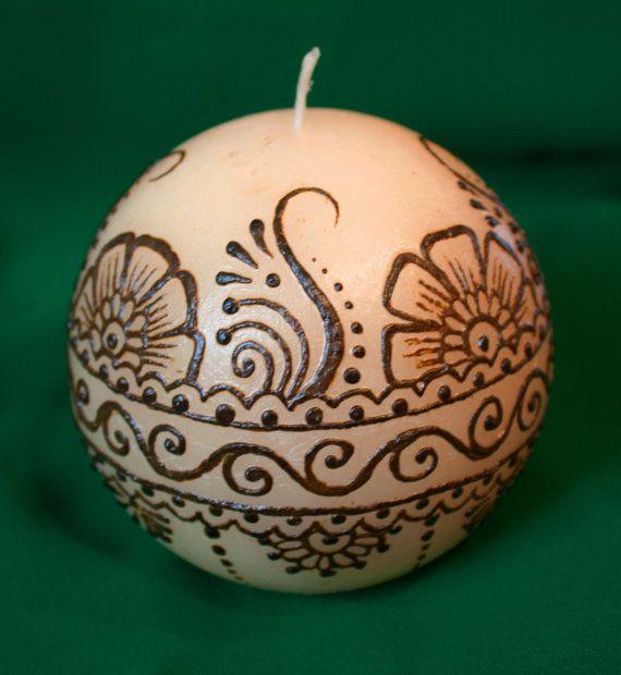 4x4 inch ivory cream offwhite ball Henna Candle by NewWorldHenna, $24.00