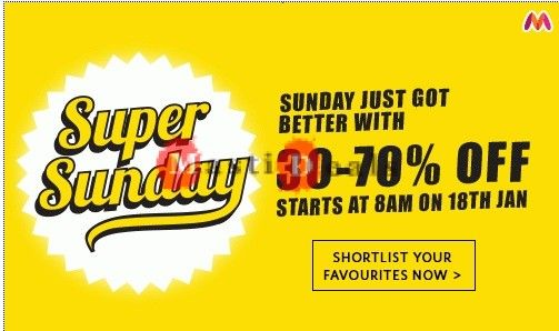 [Upcoming] Myntra Super Sunday Sale: Flat 30% -70% Off Starts From 8am on 18th January