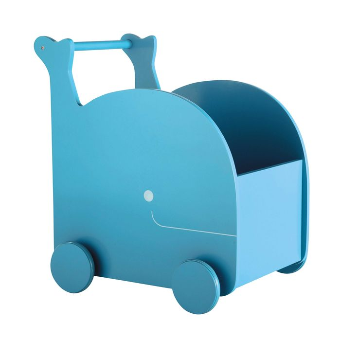 Chariot à jouets baleine en bois bleu H 50 cm WILLY