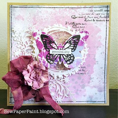 SewPaperPaint: Faux Marbling and Resist Butterfly Card