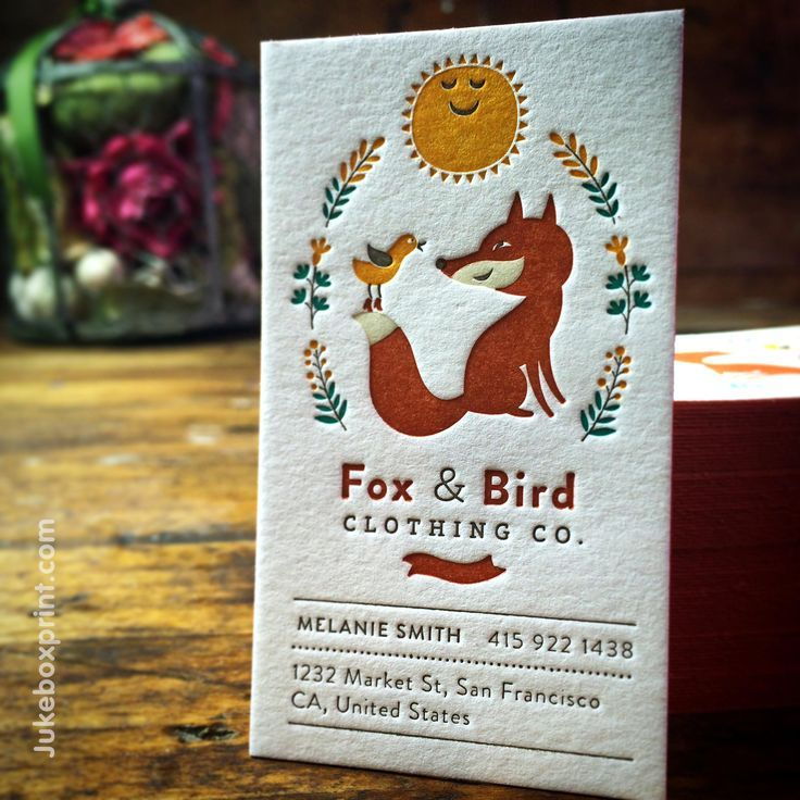 Cute Letterpress business card produced with 7 colors